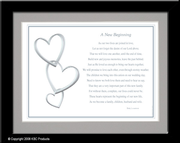 Wedding Gifts For 2nd Marriages : New BeginningAn excellent family blending gift for second marriages ...