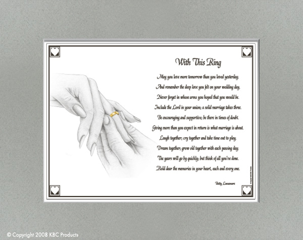 With This Ring A Wedding Day Is Very Special For Any Poem Captures That Moment Each Print Matted Neutral Gray Matte